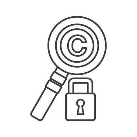 Copyright concept represented by lupe and padlock icon. Isolated and flat illustration.