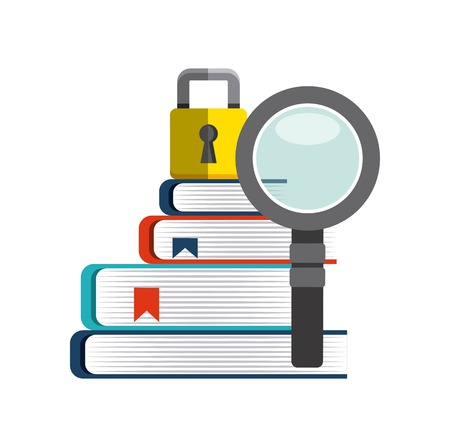 shielding: Copyright concept represented by book, lupe and padlock icon. Colorfull and flat illustration.