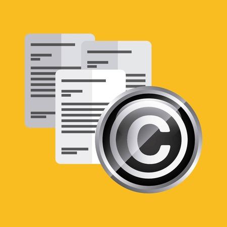 concetto di Copyright rappresentato da un'icona di documento. Colorfull e illustrazione piatta.