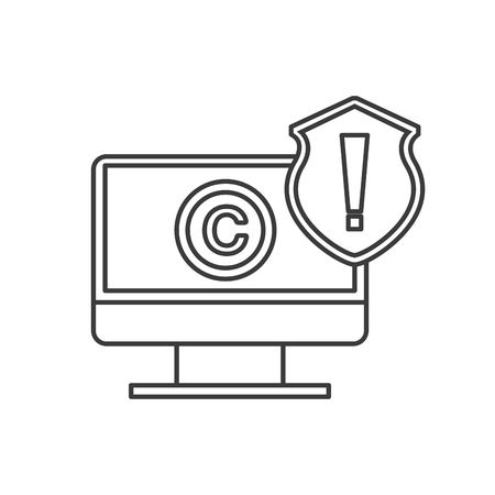 convention: Copyright concept represented by computer and c icon. Isolated and flat illustration.