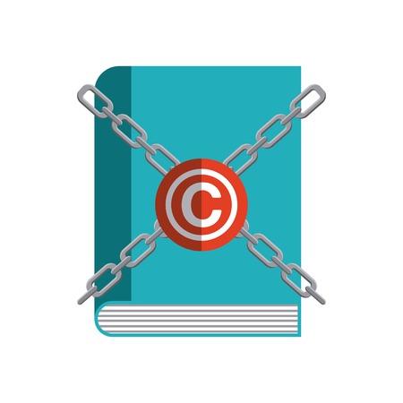 concetto di Copyright rappresentato dal libro e c icona. Colorfull e illustrazione piatta.