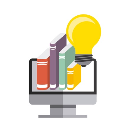 duplication: Copyright concept represented by computer, book and bulb icon. Colorfull and flat illustration.