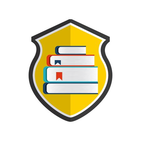 duplication: Copyright concept represented by book and shield icon. Colorfull and flat illustration.
