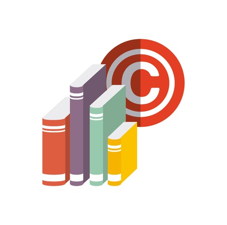 reserved: Copyright concept represented by book and c icon. Colorfull and flat illustration.