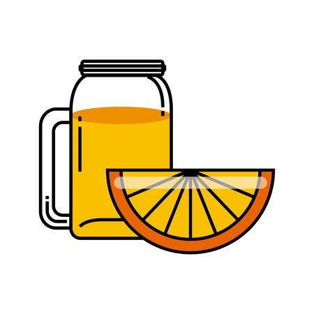 cleanse: Organic food concept represented by orange detox icon. Colorfull and flat illustration.