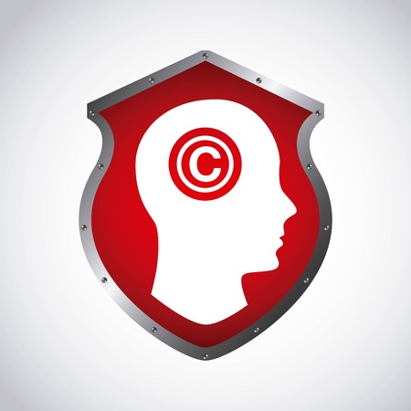 Copyright concept represented by human head and c icon. Colorfull and flat illustration. Illustration