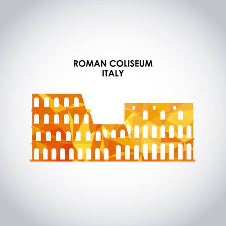 italy culture: Italy culture concept represented by roman coliseum icon. Colorfull and Polygonal illustration. Illustration
