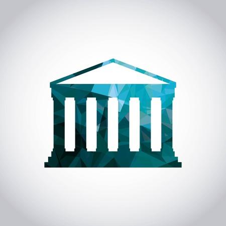 templo griego: Italia concepto de cultura representada por el icono de templo griego. Llena de color e ilustración poligonal.
