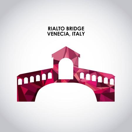 rialto: Italy culture concept represented by rialto bridge icon. Colorfull and polygonal illustration.