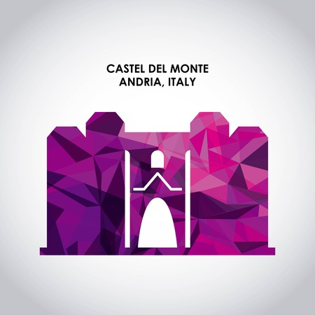 italy culture: Italy culture concept represented by castel del monte icon. Colorfull and Polygonal illustration.
