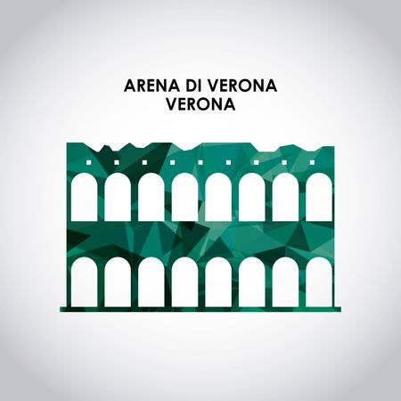 italy culture: Italy culture concept represented by arena di verona icon. Colorfull and polygonal illustration.