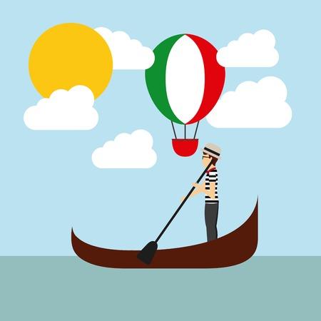 Italia concetto di cultura rappresentata da mongolfiera e dei cartoni animati con l'icona della barca. Colorfull e illustrazione piatta.