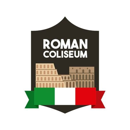 coliseum: Italy culture concept represented by roman coliseum icon. Colorfull and flat illustration.