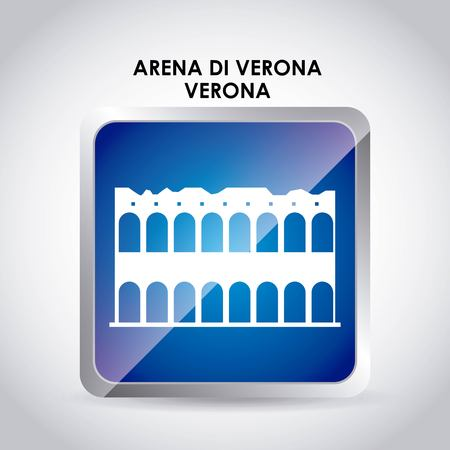 italy culture: Italy culture concept represented by arena di verona icon. Colorfull and flat illustration. Stock Photo