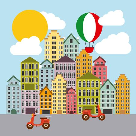 italy culture: Italy culture concept represented by hot air balloon and city icon. Colorfull and flat illustration.