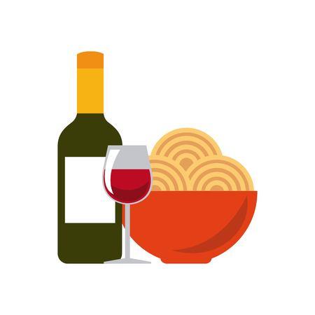 Italië cultuur concept vertegenwoordigd door de traditionele gerechten en wijn icoon. Colorfull en platte illustratie.