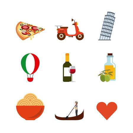 Italy culture concept represented by landmarks icon set. Colorfull and flat illustration.