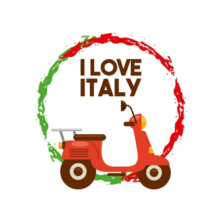italy culture: Italy culture concept represented by motorcycle and flag splash icon. Colorfull and flat illustration.