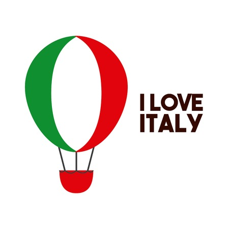 touristic: Italy culture concept represented by hot air balloon icon. Colorfull and flat illustration.