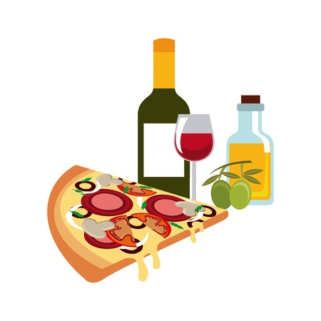 italy culture: Italy culture concept represented by traditional food and wine icon. Colorfull and flat illustration.