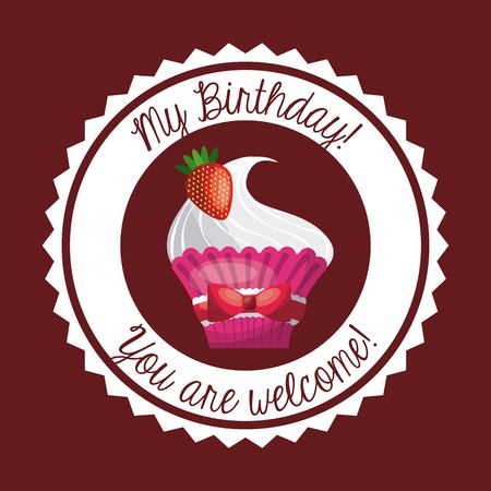 Happy birthday and dessert concept represented by cupcake icon over seal stamp. Colorfull and flat illustration.