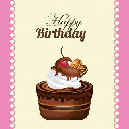 Happy birthday and dessert concept represented by cake icon. Colorfull and flat illustration.