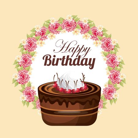 svaneti: Happy birthday and dessert concept represented by cake over floral seal stamp icon. Colorfull and flat illustration.