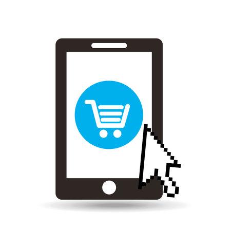 consumer society: ecommerce online buy business technology isolated, vector illustration Illustration