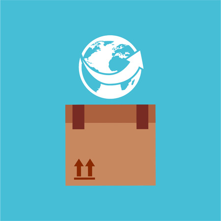 earth moving: transportation delivery service box warehouse isolated, vector illustration Illustration
