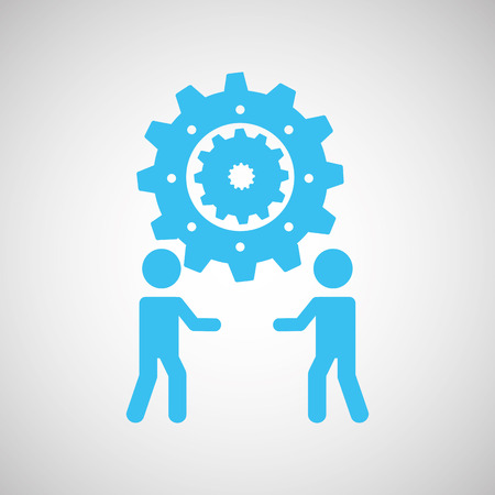 urban planning: business people teamwork connection isolated, vector illustration Illustration