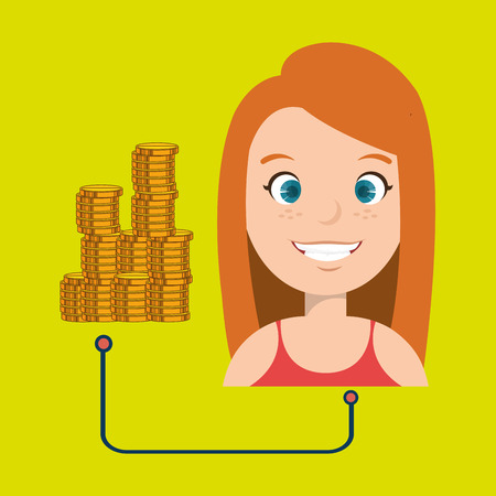 woman with coins isolated icon design, vector illustration  graphic
