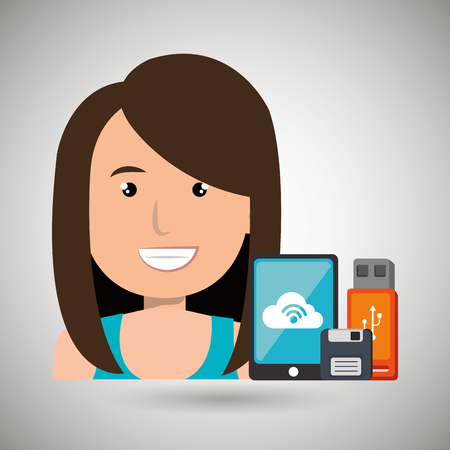female connector: woman with smartphone and storage devices  isolated icon design, vector illustration  graphic