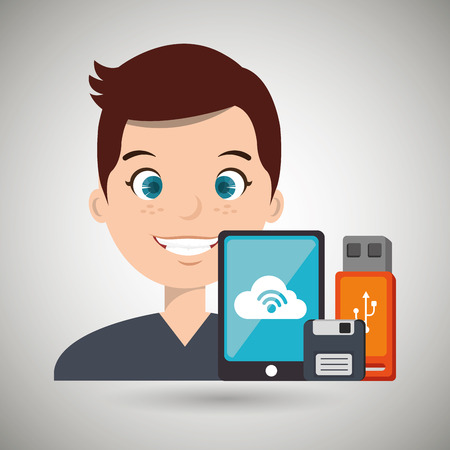 man with smartphone and storage devices  isolated icon design, vector illustration  graphic