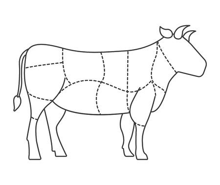 암소 고기 격리 아이콘 디자인, 벡터 일러스트 그래픽