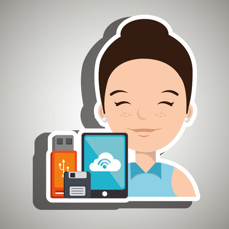 woman with smartphone and storage devices  isolated icon design, vector illustration  graphic