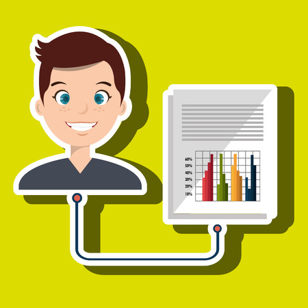 consumer: man with graph isolated icon design, vector illustration  graphic
