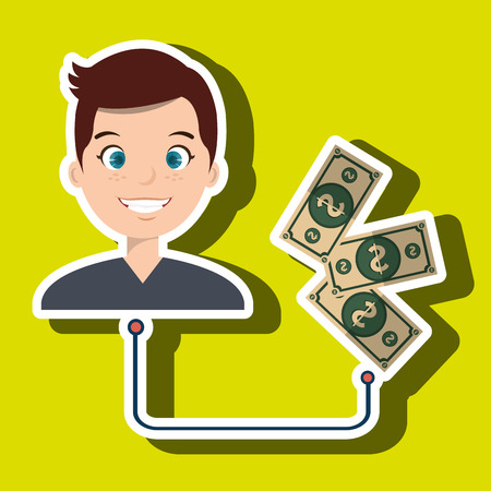 whit: man with whit currency isolated icon design, vector illustration  graphic