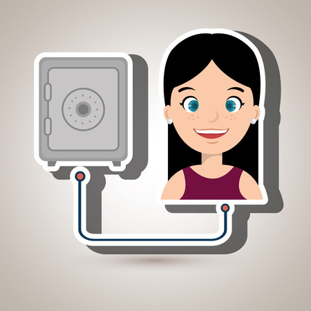 depository: woman with safe box isolated icon design, vector illustration  graphic