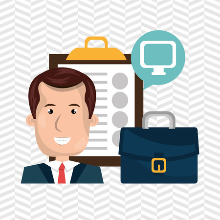 Businessman and suitcase isolated icon design, vector illustration  graphic