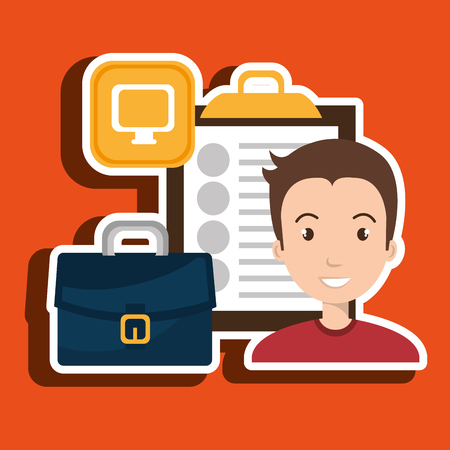 herbolaria: Businessman and suitcase isolated icon design, vector illustration  graphic