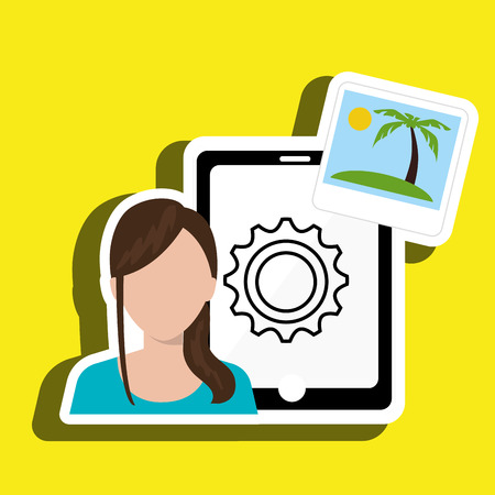 palm reading: persons with smartphone isolated icon design, vector illustration  graphic
