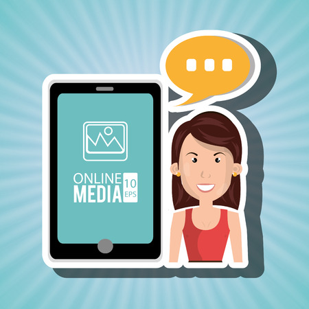 woman cellphone: woman with cellphone isolated icon design, vector illustration  graphic Illustration