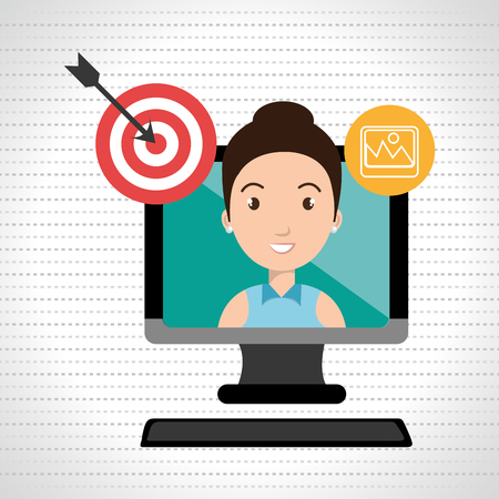 girl using laptop: woman with computer isolated icon design, vector illustration  graphic