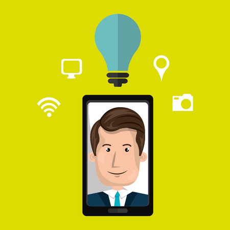 touchphone: Smart phone and man isolated icon design, vector illustration  graphic
