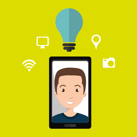 young generation: Smart phone and man isolated icon design, vector illustration  graphic