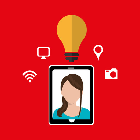 young generation: Smartphone and woman isolated icon design, vector illustration  graphic Illustration