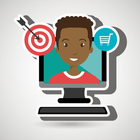 man with computer isolated icon design, vector illustration  graphic Illustration