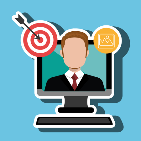 using laptop: man with computer isolated icon design, vector illustration  graphic Illustration