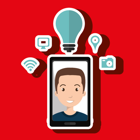 smart man: Smart phone and man isolated icon design, vector illustration  graphic