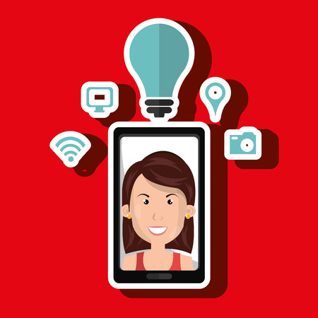 touchphone: Smartphone and woman isolated icon design, vector illustration  graphic Illustration